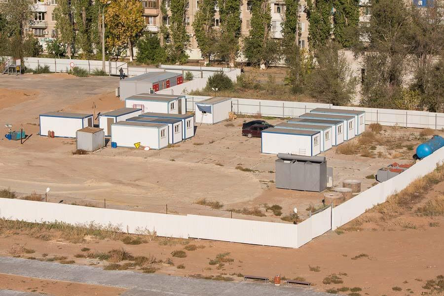 construction trailer yard overview