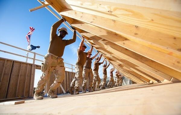 construction office trailer teamwork