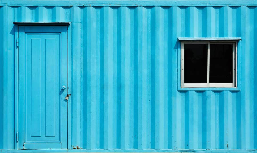 Blue color container office with door and window
